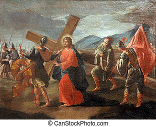 5th Stations of the Cross, Simon of Cyrene carries the cross