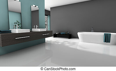 Bathroom Home Design - Home interior of a modern bathroom...