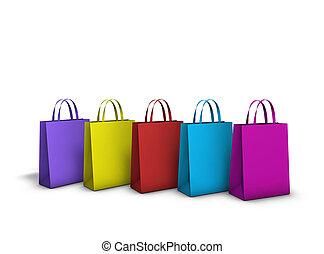 Colourful Shopping Bags - Urban life background. Row of five...