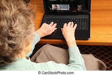Old woman with Notebook