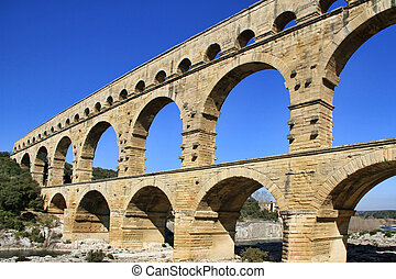 Pont du Gard France - Roman aqueduct at Pont du Gard France,...