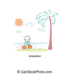 A man came to the beach. Illustration.
