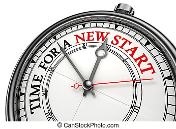 time for a new start concept clock closeup on white...