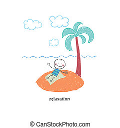 Man on vacation. Illustration.