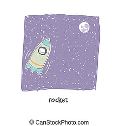 A man flying on a rocket Illustration