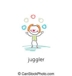 Clown juggler. Illustration.