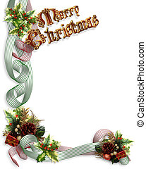 Christmas Border ribbons and holly - Image and Illustration...