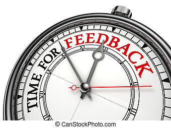 time for feedback concept clock on white background with red...