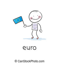 Man holding euro flag. Illustration