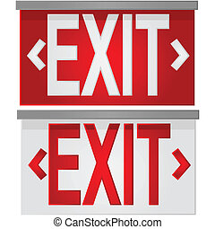 Exit signs - Glossy illustration showing a white exit sign...