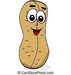 Cartoon peanut - Cartoon illustration of a peanut with a...