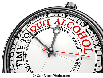 time to quit drinking alcohol concept clock on white...