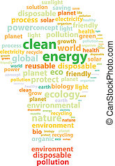 Clean Energy Words Represented By A Light Bulb