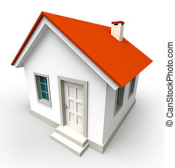 house model with red roof on white background. clipping path...