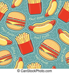 fast food seamless pattern backgroundVector food texture -...