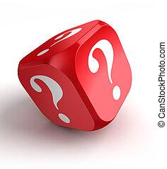 red dice with question mark