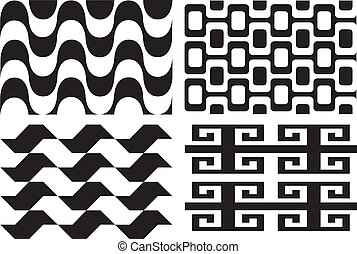 Retro seamless patterns - Retro vintage black and white...