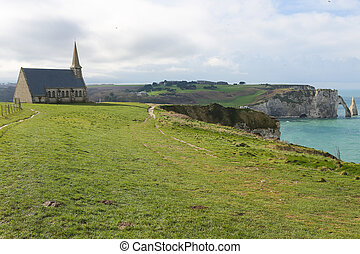 Etretat - Chapelle Notre Dame de la Garde, green field and...