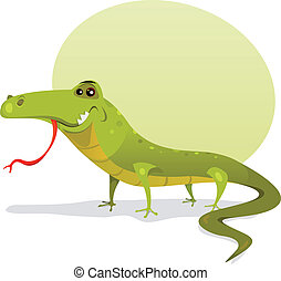 Cartoon Happy Lizard - Illustration of a funny happy and...