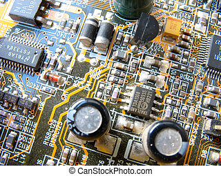 Computer motherboard electronic circuit macro surface...