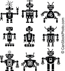 vector set of robots - vector set of black and white...