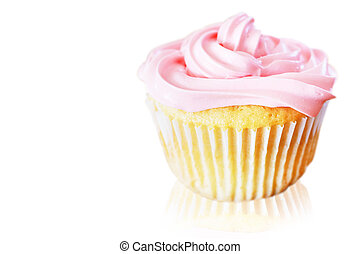 Vanilla cupcake with pink frosting