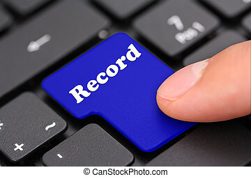 "Enter button with text ""record"""