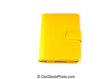 Yellow case for tablet on white background