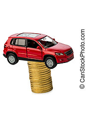 rising car costs. car on coins