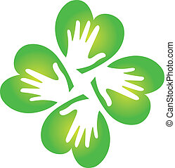 Shamrock and hands logo