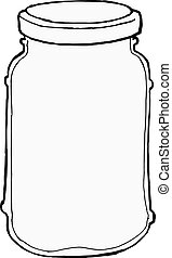 jar - hand drawn, vector, sketch illustration of jar