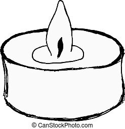 aromatic candle - hand drawn, vector illustration of...