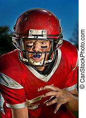 American football player - Young American football playerin...
