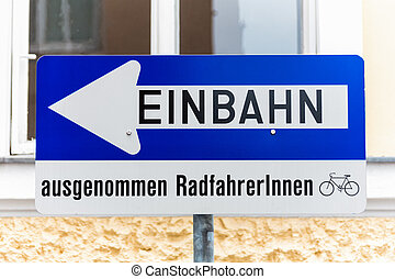 way street, road sign with additional - way street, road...