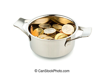saucepan and euro coins - a cooking pot, to häfte filled...