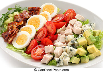 cobb salad - american salad on a white background