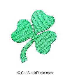 Embroidered shamrock - symbol of Irish, isolated on white