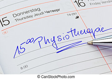 entry in the calendar: physiotherapy - a date is entered in...