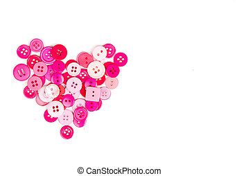 Pink buttons in shape of heart - Assorted pink buttons in...