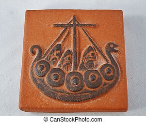 Symbol of a Viking Ship - Clay relief of a Viking Ship