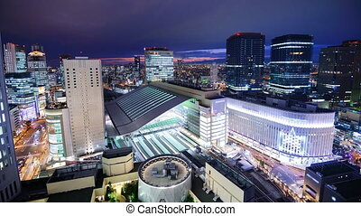 Osaka - Time lapse at Osaka Station in Osaka, Japan.