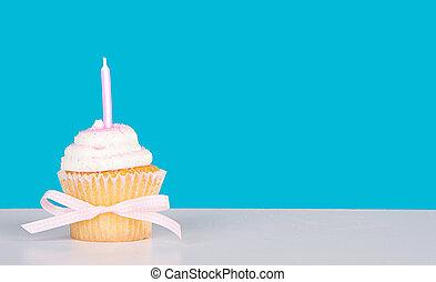Cor-de-rosa, vela, único,  Cupcake