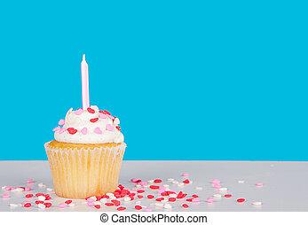 Cor-de-rosa, Coração, chuviscos, vela,  Cupcake
