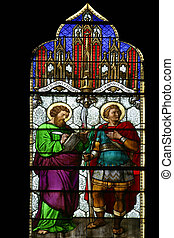 Saint Mark and Saint Demetrius, stained glass in Zagreb...
