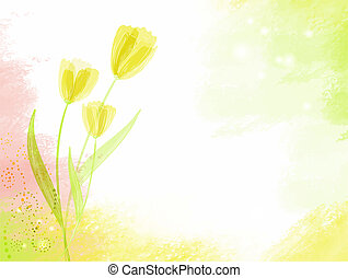 abstract watercolour background with tulips