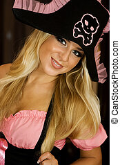Pirate girl - Blond girl in pirate costume on Helloween...