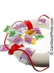 lifebuoy and euro rescue for greece symbol of national debt...