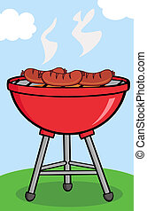 Grilled Sausages On Barbecue With Background Cartoon...