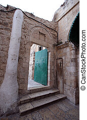 Church Holy Sepulchre, Jerusalem - Door in Ethiopian...