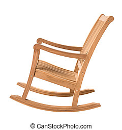 Wooden rocking chair - rocking chair on white